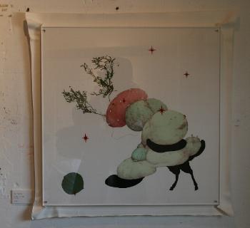 「無題」 紙に水彩、インク、植物 530×530