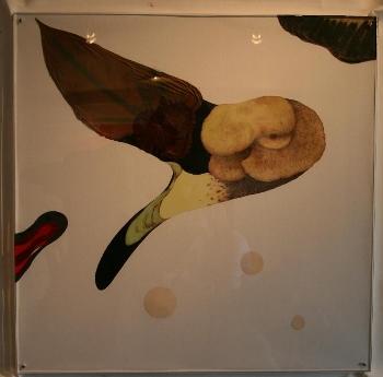 「無題」 紙に水彩、アクリル、インク、植物 530×530